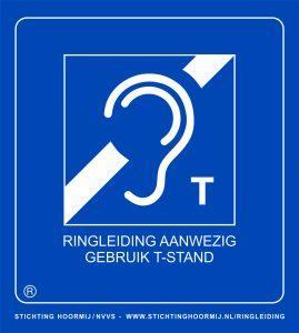 Openbare gebouwen met een ringleiding hebben dit bordje met oor en T.